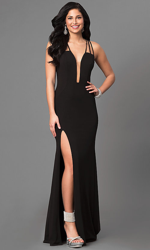 Image of v-neck La Femme long prom dress with open back. Style: LF-24355 Detail Image 1