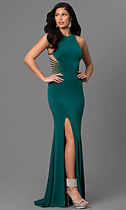 High-Neck Beaded Mesh Side Prom Dress