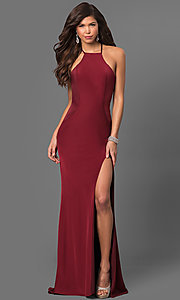 Strappy Open-Back Long Jersey Prom Dress