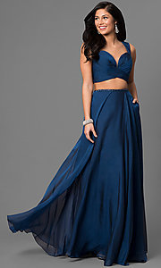 Long Sweetheart Open Back Two Piece Prom Dress