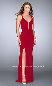 Low V-Neck Criss-Cross Strap Prom Dress