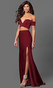 Long Notched Off-the-Shoulder Prom Dress