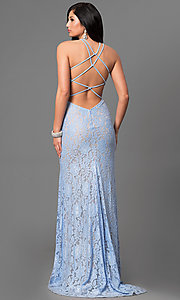 Image of long lace open-back prom dress by La Femme. Style: LF-24293 Back Image