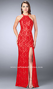 Image of long lace open-back prom dress by La Femme. Style: LF-24293 Detail Image 3
