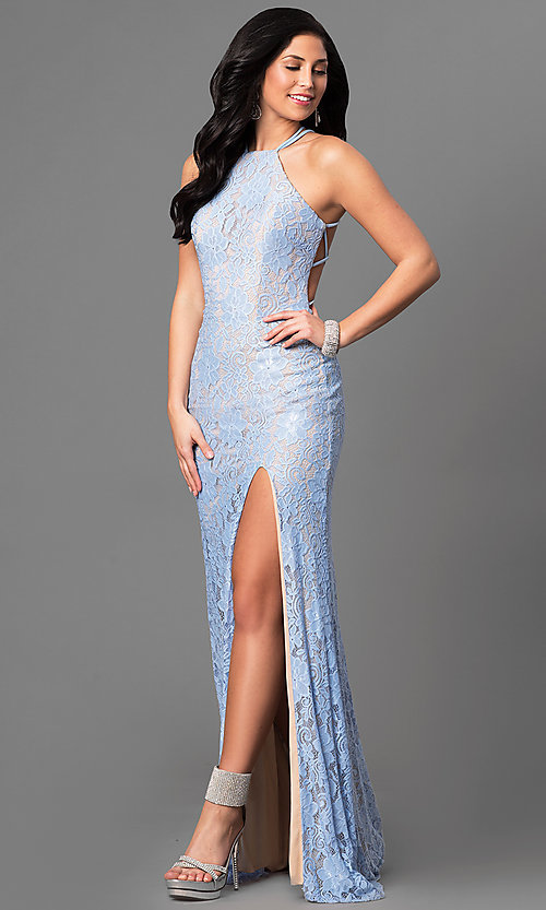 Image of long lace open-back prom dress by La Femme. Style: LF-24293 Front Image