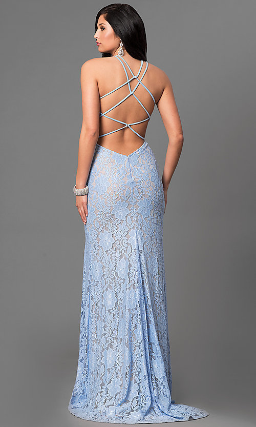 Open Back La Femme Long Lace Prom Dress Promgirl