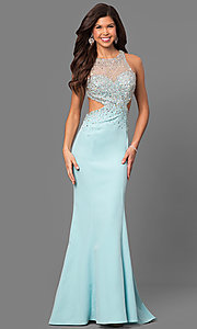 High-Neck Cut-Out Jersey Prom Dress