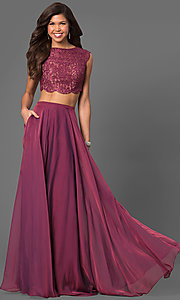 Long Chiffon Prom Dress with Beaded Lace Top