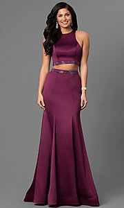 Long Two-Piece Prom Dress with Beaded Waist
