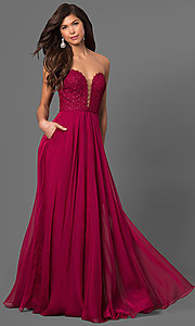 Long Strapless Chiffon Prom Dress with Pockets