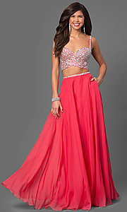 Two-Piece Long Prom Dress with Side Cut Outs
