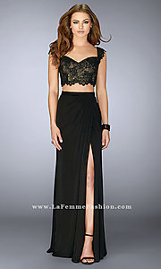 La Femme Two-Piece Lace-Top Prom Dress