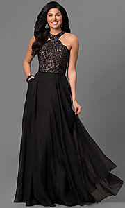 La Femme Chiffon Prom Dress with Pockets