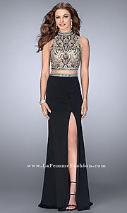 Black Two Piece Long Open Back Prom Dress