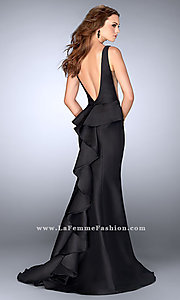 V-Back Ruffle Detail Long Prom Dress