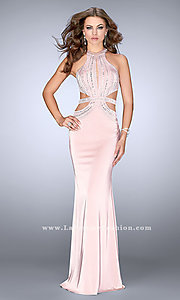 High-Neck Cut-Out La Femme Prom Dress