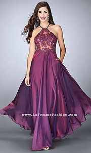 Long Chiffon Prom Dress with a Sheer Lace Bodice