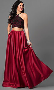 Two-Piece Long La Femme Prom Dress