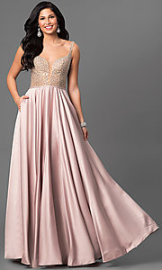 Long La Femme Satin Skirt Prom Dress with Pockets