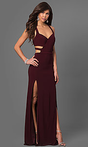 Long T-Back Jersey Prom Dress with Cut Outs