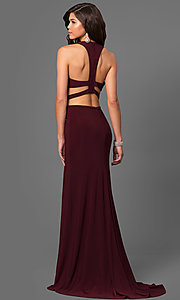 Image of long t-back jersey prom dress with cut outs. Style: LF-23967 Back Image