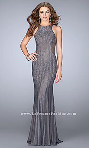 Long Jewel-Embellished Prom    Jewel-Embellished Long Prom Dress with Open Back