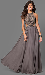 La Femme Long Sheer Bodice Prom Dress