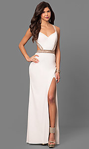 La Femme Open Back Jersey Prom Dress