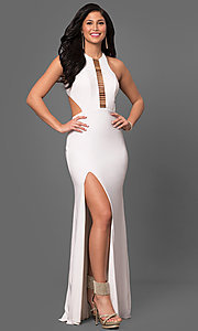 Long Jersey Cut-Out Racerback Prom Dress