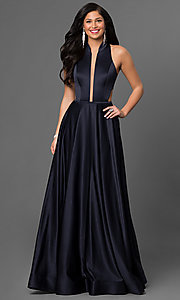 Plunging Neckline Mock-Neck Satin Prom Dress