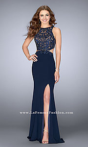 Navy Blue Long Jersey La Femme Dress