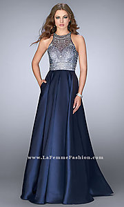 Long Navy Blue Open-Back Prom Dress