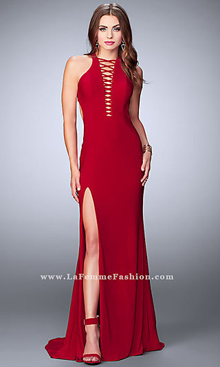 Long Open Back Prom Dress with a Lace Up Front