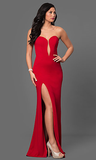 Classic Low V-Neck Long Prom Dress
