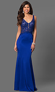 Long Embroidered Mesh Bodice Prom Dress by Gigi