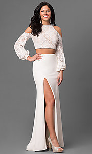 Two Piece Prom Dress with Cold Shoulder Long Sleeves
