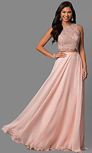 Sheer Metallic Lace Back Two-Piece Prom Dress