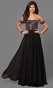 Long Off-the-Shoulder Chiffon Prom Dress