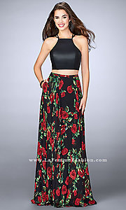 Long Black Print Chiffon Two Piece Prom Dress