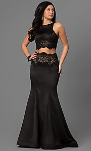 Long Black Satin Two Piece Mermaid Prom Dress