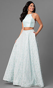 Long Jacquard Two Piece A-Line Prom Dress