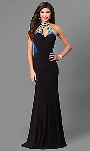 High Keyhole Embroidered Racerback Prom Dress