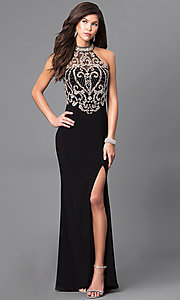High Neck Embellished Bodice Long Prom Dress