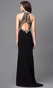 Image of long high-neck prom dress with embellished bodice. Style: LN-SP-J527 Back Image