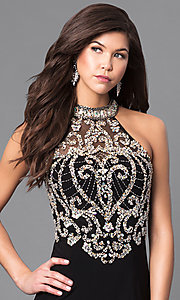 Image of long high-neck prom dress with embellished bodice. Style: LN-SP-J527 Detail Image 1