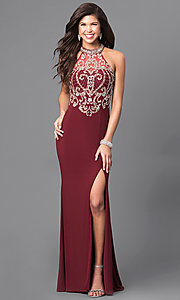 Long High-Neck Prom Dress with Embellished Bodice