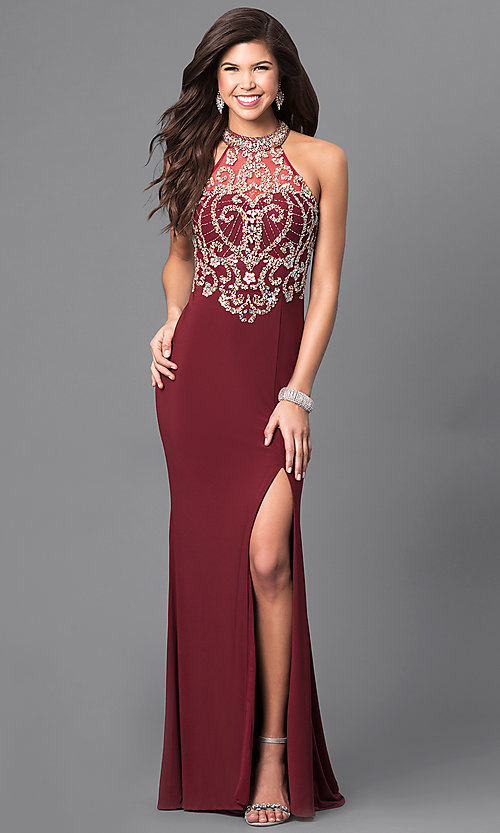 Image of long high-neck prom dress with embellished bodice. Style: LN-SP-J527 Detail Image 2