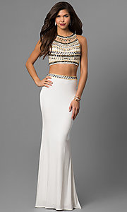 Beaded Top Two-Piece Long Prom Dress