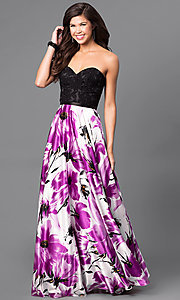Strapless Sweetheart Prom dress with Floral Skirt