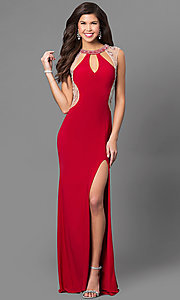 Keyhole Cut Out Long Illusion Prom Dress